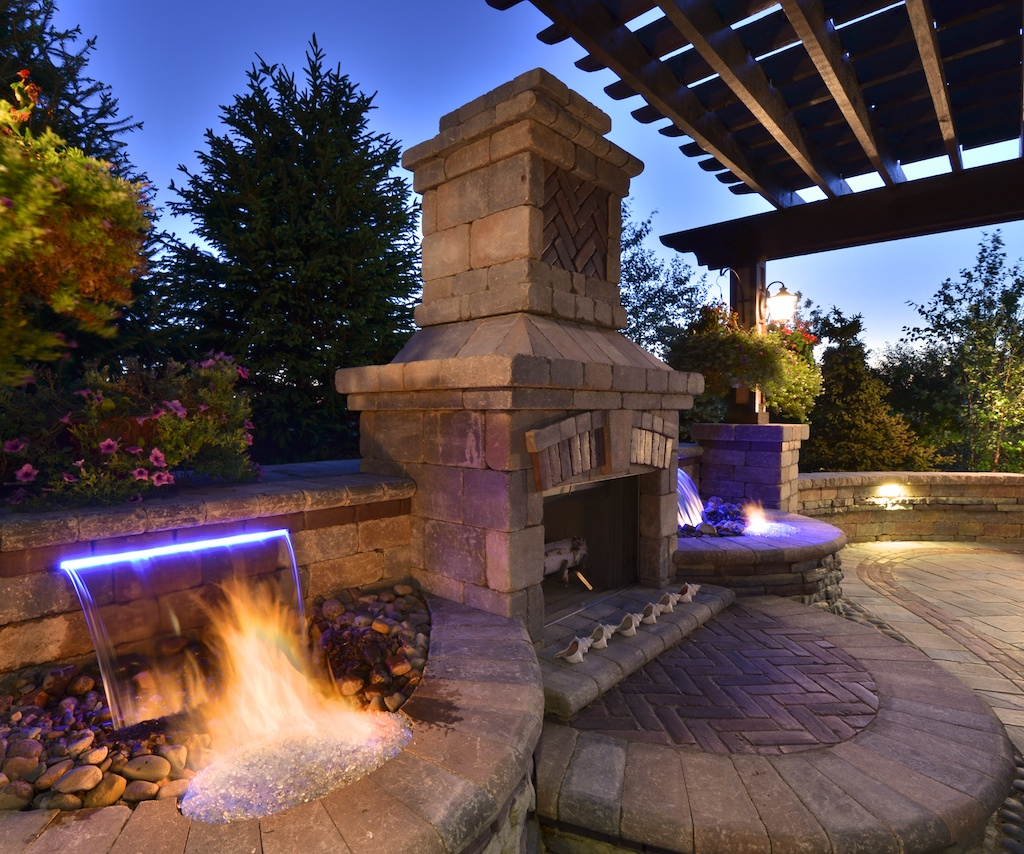 Image of: outdoor fireplace and waterfall designs