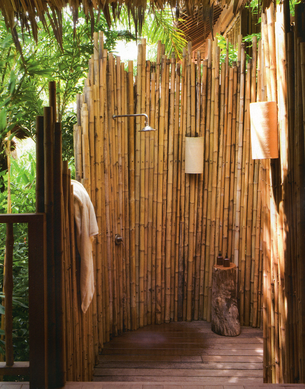 Image of: outdoor shower designs bamboo