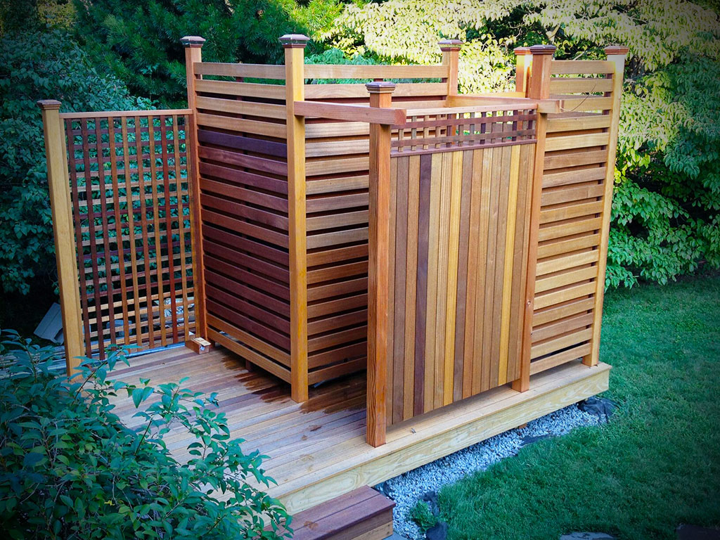 Image of: outdoor shower designs cedar