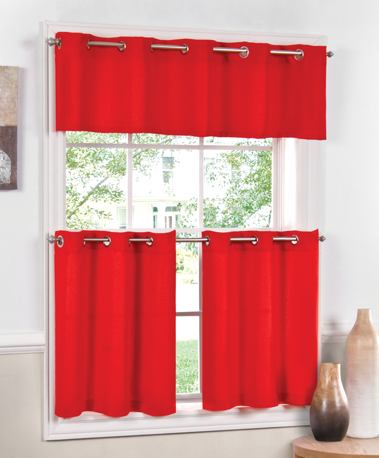 Image of: red kitchen drapes