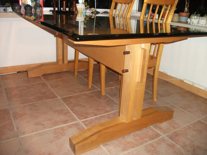 Image of: rustic trestle dining table