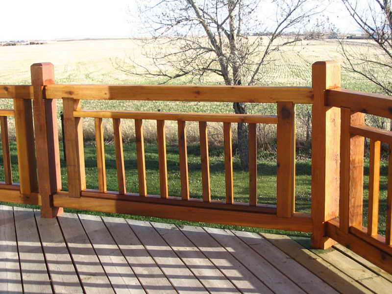Image of: wood deck handrail designs
