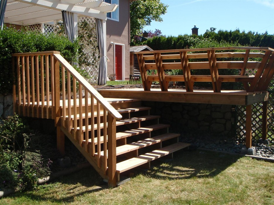 Image of: wood deck stairs designs