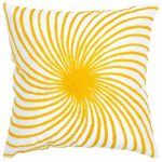 yellow and white decorative pillows